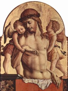 """Carlo Crivelli's """"The Dead Christ supported by Two Angels"""" (circa 1435–circa 1495) shows the sorrow of two angels who realize the high price paid by Christ for our rescue."""