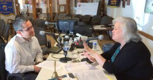 Luis Soto, director of Centro San Juan Diego, talks with host Kelly Roper during a special pledge drive on Catholic Radio Network.