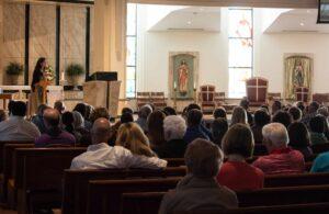Helen Alvaré speaks to crowd June 1 inside St. Thomas More Church in Centennial.