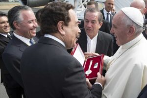 Pope Francis receives a key to the city during his visit to Quito and Guayaquil, Ecuador on July 6.