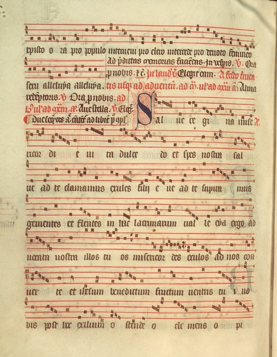 The notes from an ancient Salve Regina (Hail Holy Queen) used for Our Lady of Mount Carmel's feast day Mass July 16.
