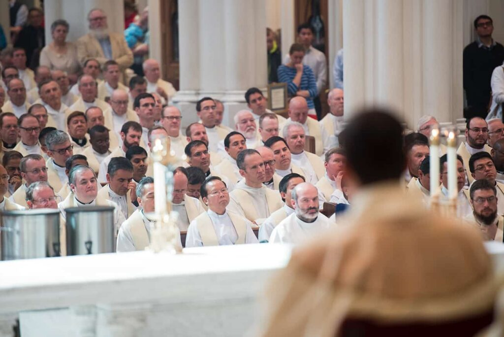 DENVER, CO, March 23, 2016 - All priests from around the diocese are invited to attend the Chrism Mass, during which all the Holy Oils they'll use in their own parishes are blessed. (Photo by Dan Petty/A&D Photography)