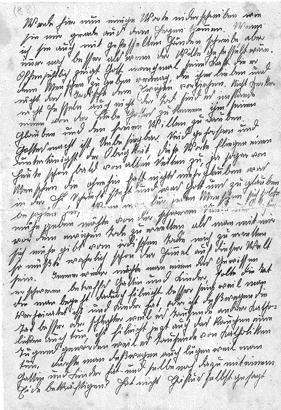 """Austria: The first page of Franz's last essay, written while he was in prison. The first sentence reads, """"Now I'll write down a few words as they come to me from my heart. Although I am writing them with my hands in chains, this is still much better than if my will were in chains.""""/Styria Verlag. Used with permission"""