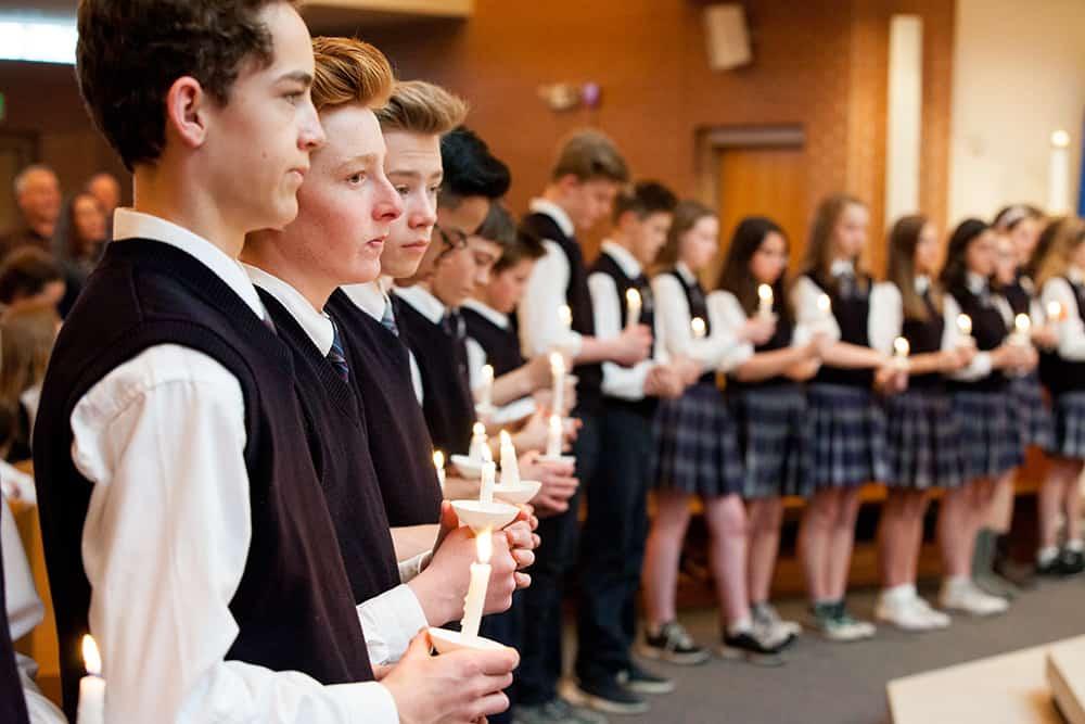 Bishop Jorge Rodriguez celebrates mass for the students at St Mary's of Littleton for Catholic Schools Week. February 2, 2017: St. Mary's of Littleton school Littleton, Colorado Photo by Andrew Wright/Denver Catholic