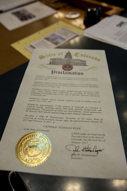 Denver, Colorado January 31, 2017: Senate Catholic Schools proclamation - Machebeuf High School Photo by Andrew Wright/Denver Catholic