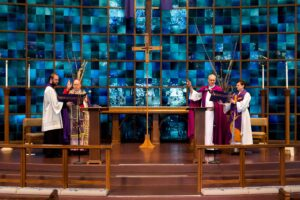CHERRY HILLS VILLAGE, CO - MARCH 19: Denver Archbishop Samuel J. Aquila (CL) and Bishop James Gonia (CR) bless the congregation while attended by Fr. Scott Bailey (L) and Reverend Brigette Weier (R) during the Lutheran Catholic Common Commemoration of the Reformation at Bethany Lutheran Church on March 19, 2017, in Cherry Hills Village, Colorado. (Photo by Daniel Petty/for Denver Catholic)