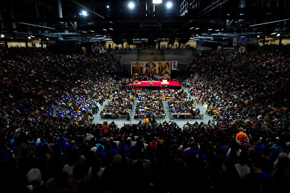 BOULDER, CO - MARCH 11: A general view of a Neocatechumenal Way gathering at the Coors Events Center on March 11, 2017, in Boulder, Colorado. (Photo by Daniel Petty/for Denver Catholic)