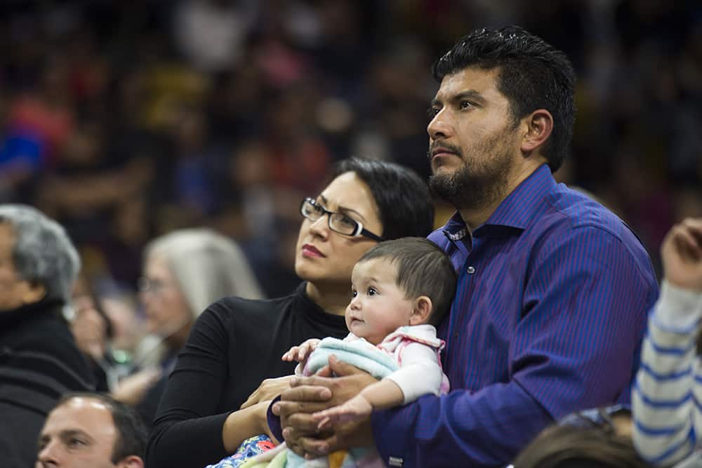 BOULDER, CO - MARCH 11: Attendees listen during a Neocatechumenal Way gathering at the Coors Events Center on March 11, 2017, in Boulder, Colorado. (Photo by Daniel Petty/for Denver Catholic)