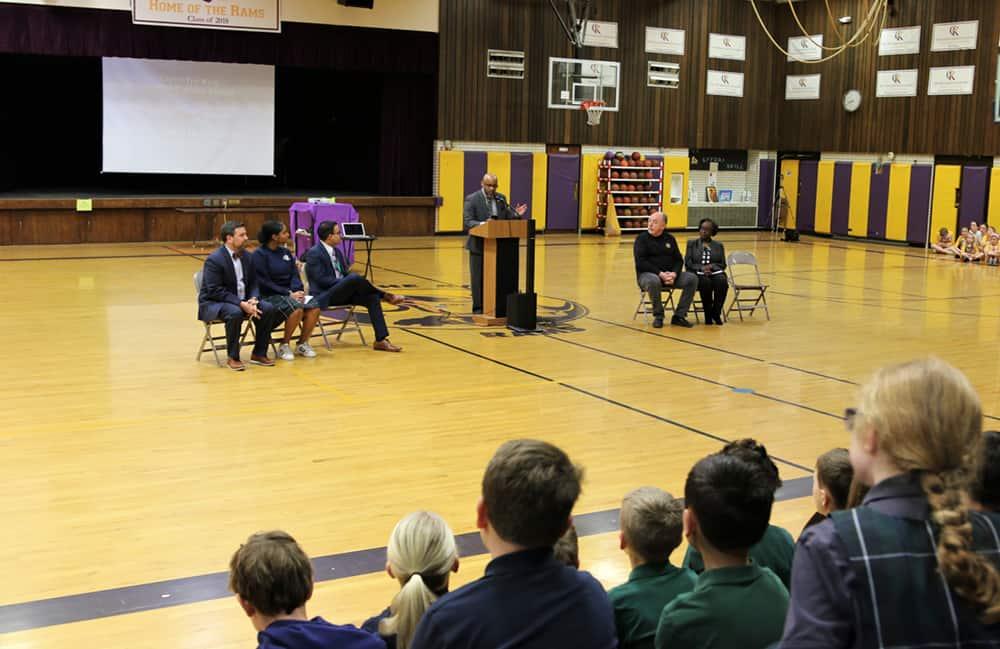 Mayor Michael Hancock surprised students at Christ the King Catholic School, in Denver Feb. 24 during a presentation on Black History Month. (Photos by Brandon Ortega)